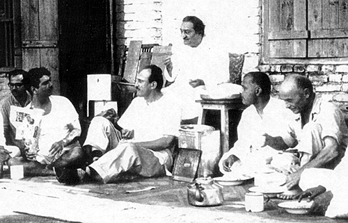 Francis Brabazon (far right) with Meher Baba and men mandali, 1960s