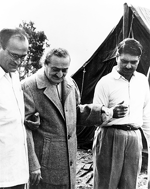 Meher Baba inspecting men's tents, June 1958 at Avatar's Abode